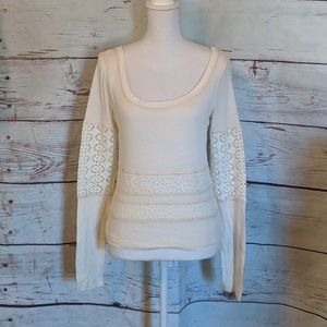 We The Free Eyelet Long Sleeve Top Size S/M